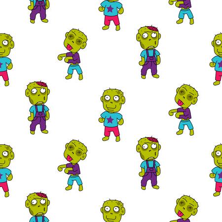 Zombie cute cartoon kid pattern.