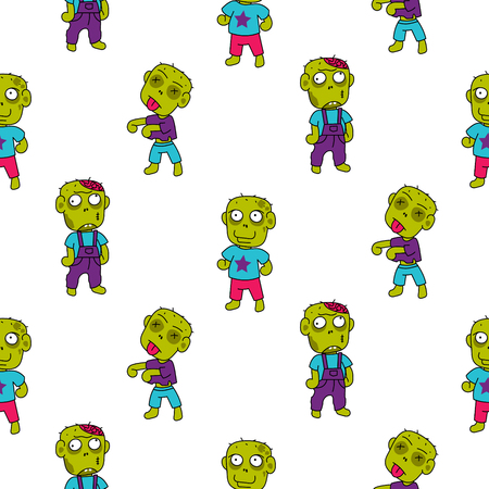 Zombie niedlich Cartoon Kid Muster