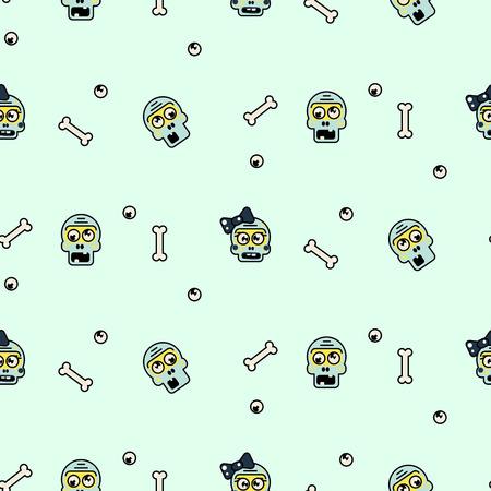 Zombie head cartoon cute couple pattern.