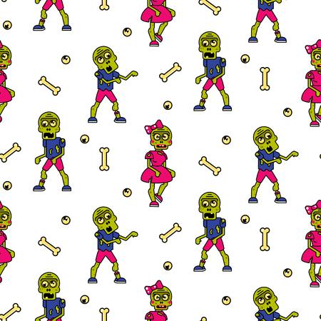 Zombie cartoon couple seamless pattern.