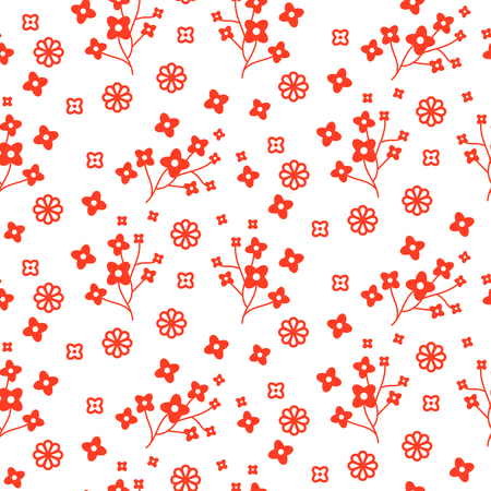 Tiny red color floral seamless simple vector pattern. Repeat flower bloom texture backround for print textile, wallpaper and wrap paper design.