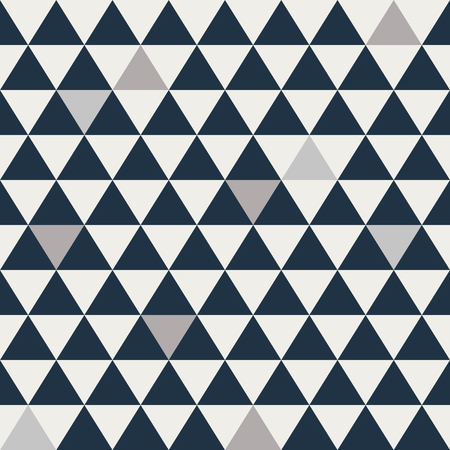 Blue and grey triangle seamless vector pattern. Geometric repeating background. Çizim
