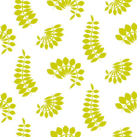 Fern green leaves seamless vector pattern. Foliage repeat background. Illustration