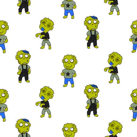 Zombie niedlich Cartoon Kind nahtlose Muster