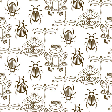 Elegant line style insect vector seamless pattern. Gold and white beetles, frogs and dragonfly repeat texture. Illustration
