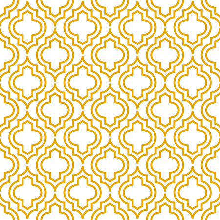 Yellow line qatrefoil seamless vector pattern illustration.