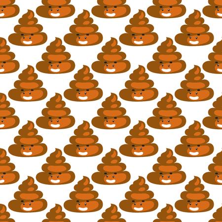 Poo emoji pattern. Poop fun seamless background. Illustration