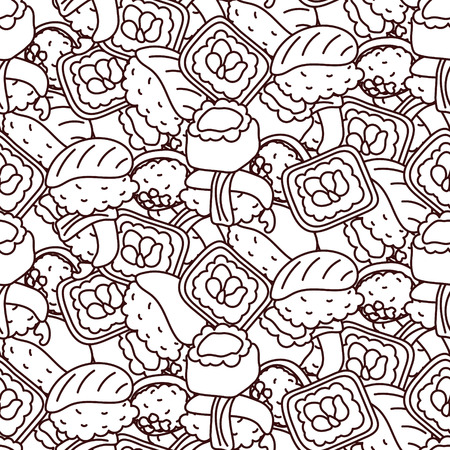 Sushi Coloring Page Vector Seamless Pattern Royalty Free Cliparts Vectors And Stock Illustration Image 94766848