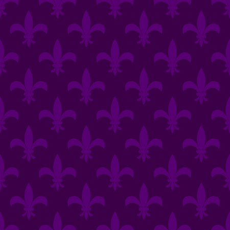 Mardi gras fleur de lis vector seamless pattern. Violet flower carnival card background.