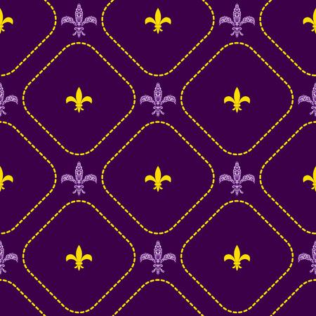 Mardi gras fleur de lis flower royal vector seamless pattern. Violet royal festival card background.