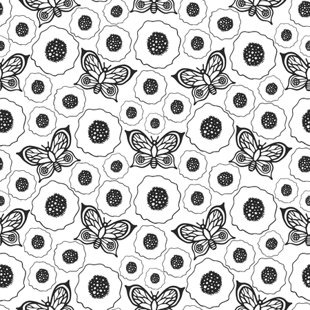 Butterflies and poppies seamless vector pattern. Ilustracja