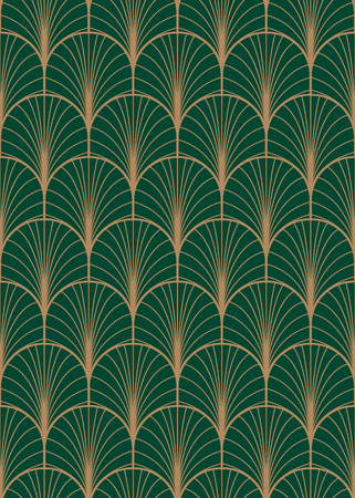 Art deco geometric seamless vector pattern, Gold and green peacock abstract feathers texture.
