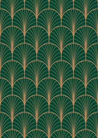 Patrón de vector transparente geométrica Art deco, textura de plumas abstractas de pavo real verde y oro. Ilustración de vector