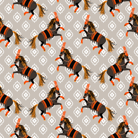 Dark horse grey and orange seamless vector pattern. Circus animal repeat background.