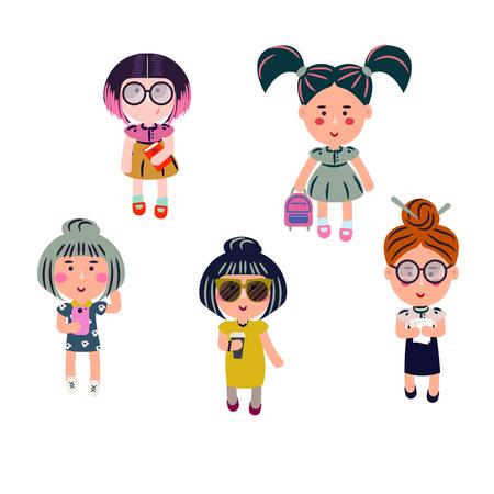 Cute girls vector cartoon set. Fashion teenagers characters.