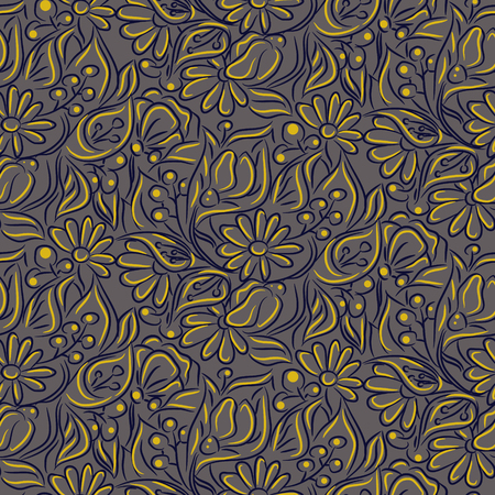 Engraving sketch flower seamless vector pattern. Line handdrawn style repeat texture with chamomiles, berries and callas branches.