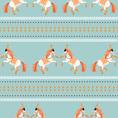 Circus horse tribal seamless vector blue pattern. Çizim