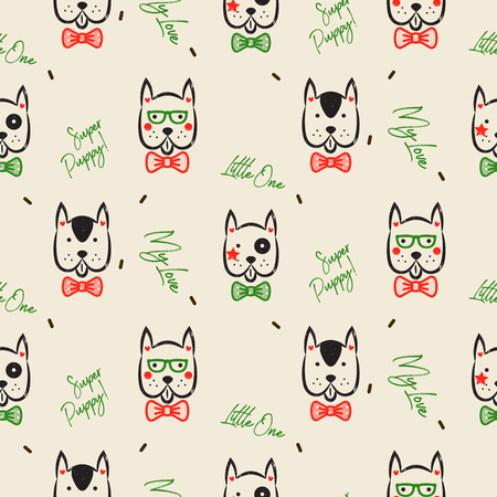 Dachshund dog scandinavian seamless vector peach colored pattern. Blue and white puppy badger-dog breed with shapes on background for textile fabric print and wallpaper.