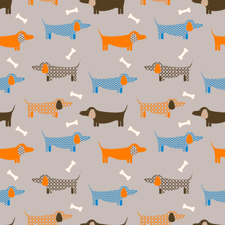 Dog seamless vector taupe colored pattern. Dachshund puppy badger-dog breed with bone shapes on background for textile fabric print and wallpaper.