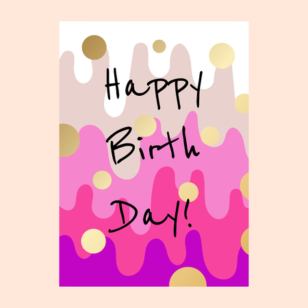 Happy birthday cake layers card design. Çizim