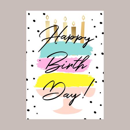Alles Gute zum Geburtstagskuchen-Kartenentwurf. Vektorgrafik