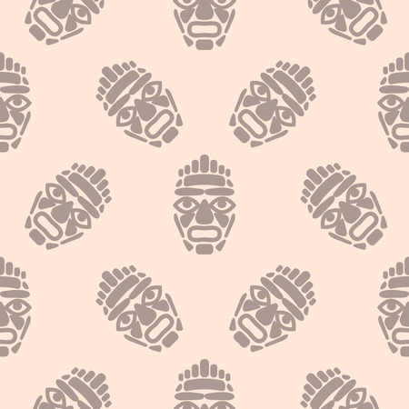 Hawaii tiki mask seamless simple pattern.