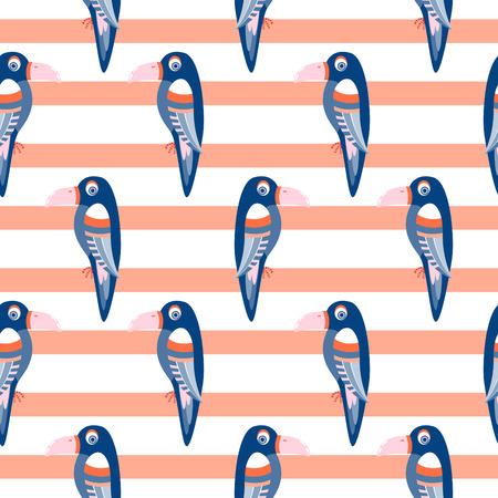 Parrot pattern seamless bird vector.