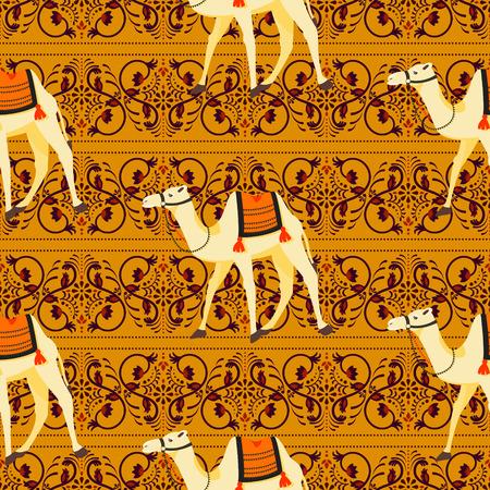Camels oriental decorative motifs seamless vector pattern.