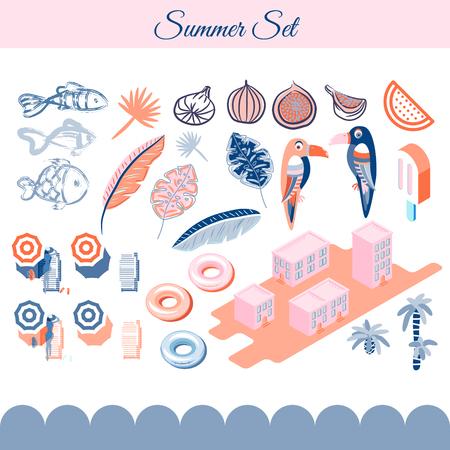 Summer holidays vector clip art objects.
