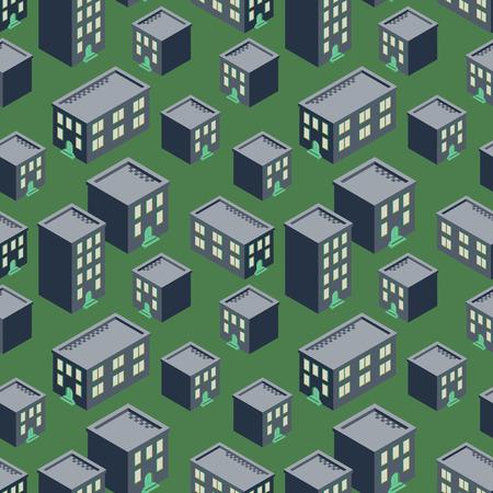 Pink house blocks seaside seamless vector pattern.