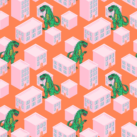 Dino monster in a pink city seamless vector pattern.