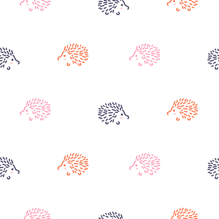 Cute baby hedgehogs seamless vector pattern. Illustration