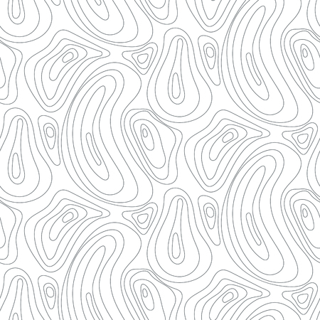 Topographic line abstract seamless pattern. Monochrome simple vector texture.