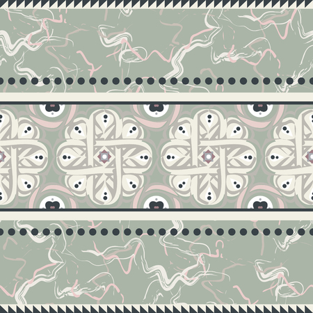 Vintage ceramic seamless design vector. Marble pale green surface with retro classic floral border for tiles.