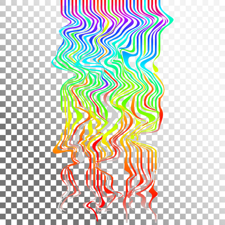 Glitch waves background art. Digital abstract pixel curvy lines noise effect. Flowing rainbow effect.