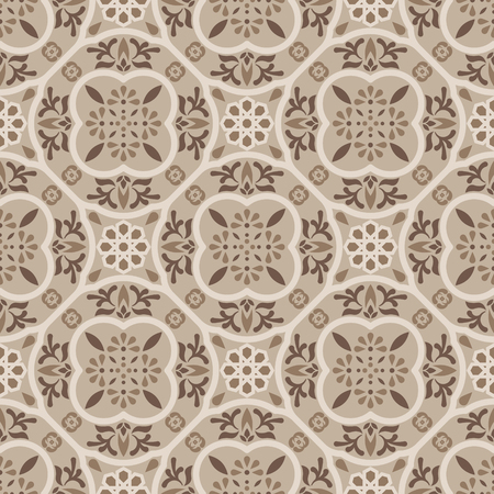 Floor tiles ornament brown vector pattern print. Neutral colors geometric hexagonal seamless backdrop. 向量圖像