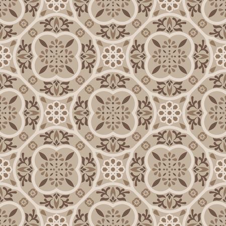 Floor tiles ornament brown vector pattern print. Neutral colors geometric hexagonal seamless backdrop. Illustration