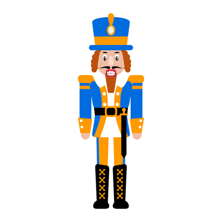 Nutcracker toy vector isolated illustration. Christmas soldier toy cartoon flat icon. Иллюстрация
