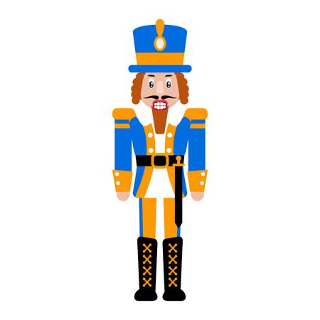 Nutcracker toy vector isolated illustration. Christmas soldier toy cartoon flat icon. Illusztráció