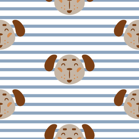 Seamless pattern with dogs cute childish textile fabric seamless print. Stripes blue on white with cute puppies.