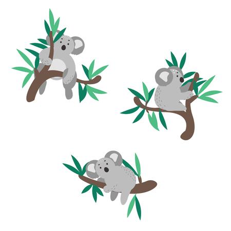 Cute koala bear set climbing on eucalyptus tree vector clipart. Ilustração