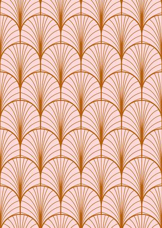 Art deco patrón de vector transparente geométrica. Oro y textura de plumas abstractas de pavo real rosa polvoriento.