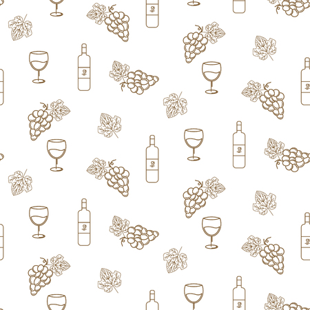 Grape and wine vector seamless pattern icons in linear style for winery label design. Gold bunch of grapes wine packaging outline style.