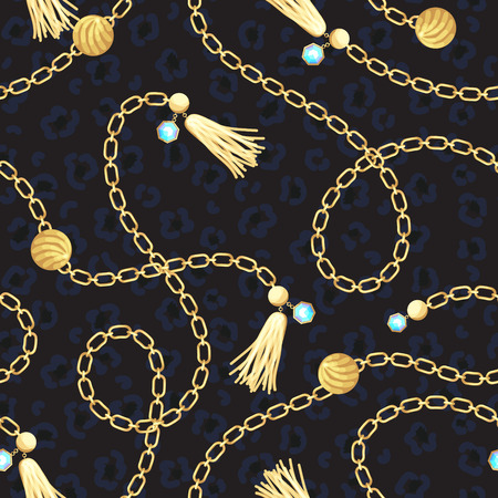 Chain gold belt pattern fashion design. 免版税图像
