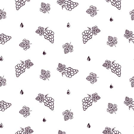 Modèle sans couture de vecteur de cave avec style de ligne d'icône de raisin pour la conception d'étiquettes de vin. Tas de raisins emballage de vin contour style couleur bordeaux sur blanc.