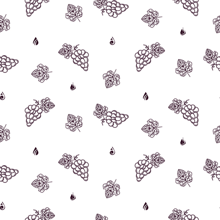 Winery vector seamless pattern with grape icon line style for wine label design. Bunch of grapes wine packaging outline style burgundy color on white.