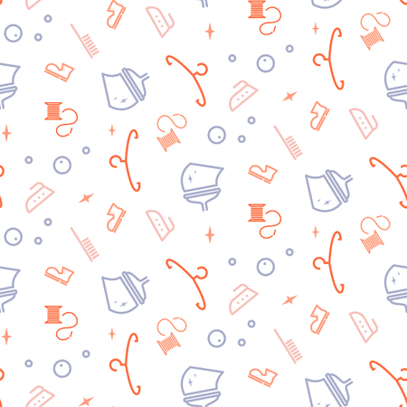 Household line icon equipment seamless vector pattern for cleaning service company or laundry brand.