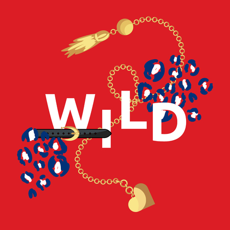 Wild and young t-shirt fashion print with big belt and buckle on red background. Leopard spots for tshirt and apparel print. Glam girl print. Vetores