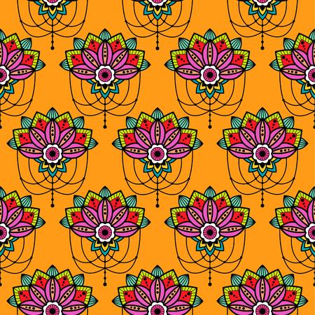 Mehendi mandala design flower with hanging pendent details vector cutout illustration. Tattoo henna design for arm.