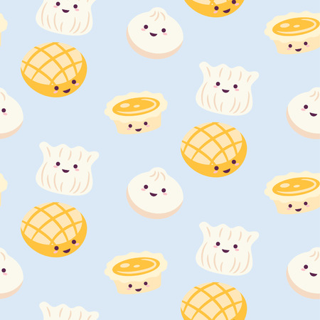 Chinese cuisine cartoon style food pattern vector with egg tart and dim sum. Kawaii asian dishes fun light blue background.